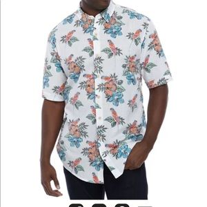 IZOD Chambray Tropical Parrot Shirt XXL NWT